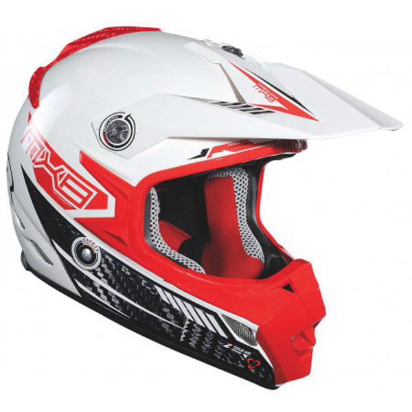 LAZER MX8-CARBON TECH WHITE/RED OFF ROAD ENDURO MX MOTORCYCLE HELMET - Lazer -  - MSG BIKE GEAR