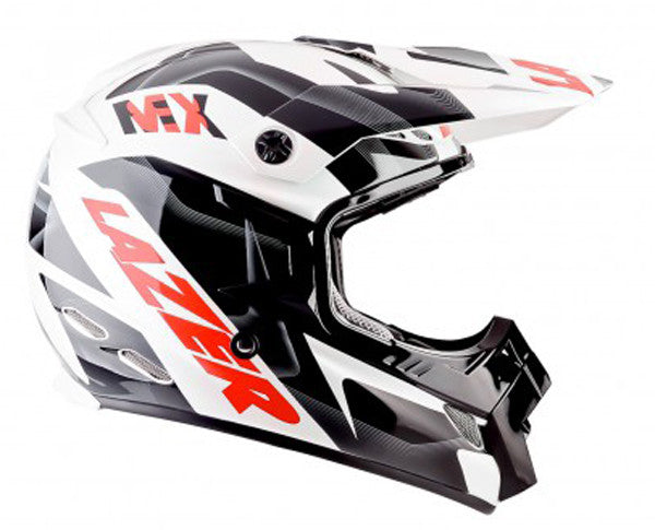 LAZER MX8-PURE GLASS GEOPOP WHITE/BLACK/RED OFFROAD  MX MOTORCYCLE HELMET - Lazer -  - MSG BIKE GEAR