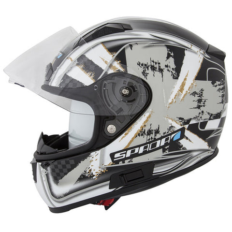 SPADA ARC PATRIOT BLACK/GREY/SILVER FULL FACE MOTORCYCLE SPORTS HELMET - Spada -  - MSG BIKE GEAR