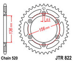 SPROCKET R/W 822-53T (820) new