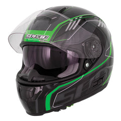 SPADA SP16 DVS SUN VISOR MOTORCYCLE FULL FACE HELMET GRADIENT BLACK/GREEN - Spada -  - MSG BIKE GEAR