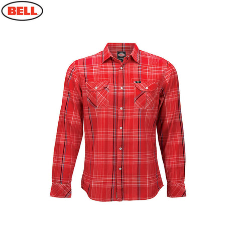 Bell Helmets Mens Woven Long Sleeve Shirt Nelson Plaid - Red - Bell -  - MSG BIKE GEAR