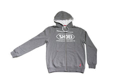 Shoei Motorcycle Helmets Logo Zip Up Hooded Jacket Hoodie - Grey - Shoei -  - MSG BIKE GEAR