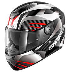 Shark D-Skwal Mercurium Helmet - Black / White / Red - INCLUDES 3 VISORS!