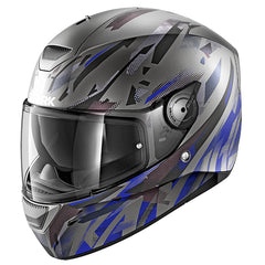 Shark D-Skwal Kanhji Helmet - Matt Anthracite / Blue - INCLUDES 3 VISORS