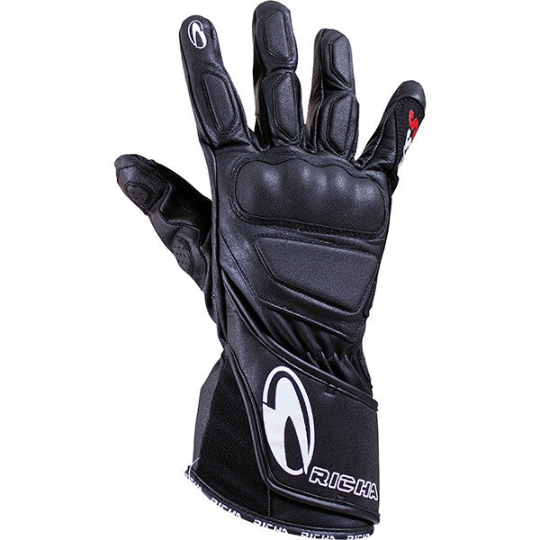 Richa WSS Leather Sports Summer Racing Motorcycle Gloves Black - Richa -  - MSG BIKE GEAR