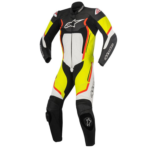 Alpinestars Motegi V2 1 Pc Leather Motorcycle Suit - Black/White/Yellow/Red