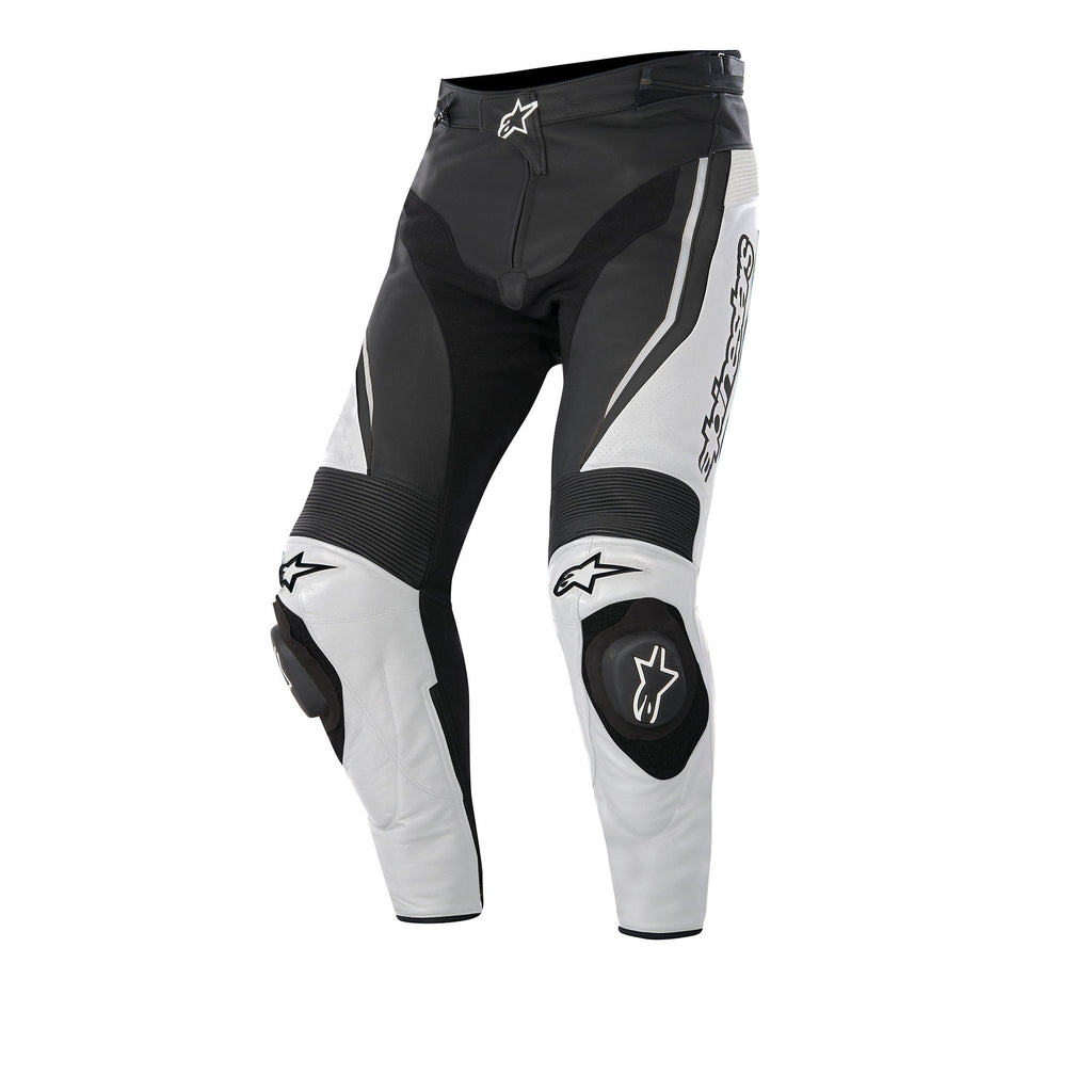 Alpinestars Track Leather Motorbike Motorcycle Pants / Trousers - Black/White - Alpinestars -  - MSG BIKE GEAR - 1