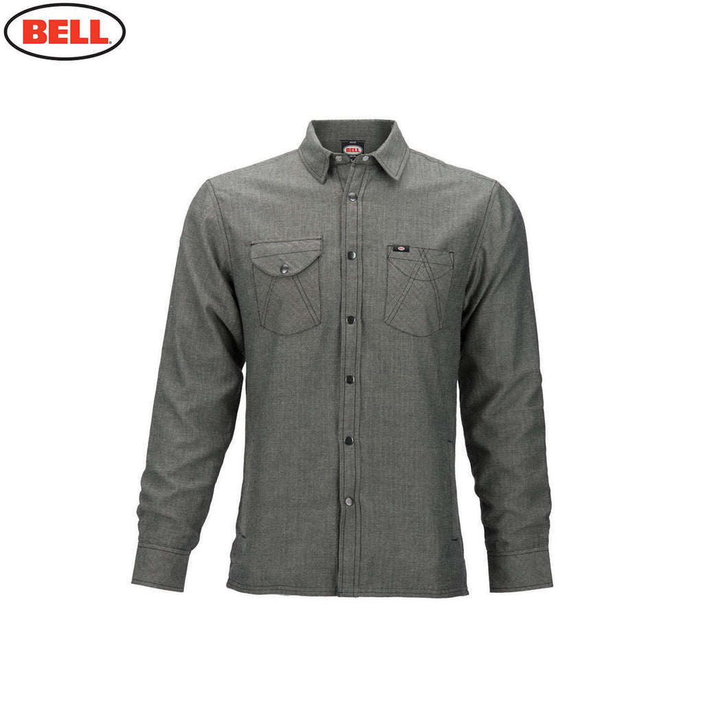 Bell Helmets Mens Long Sleeve Shirt Rucker Herringbone - Grey - Bell -  - MSG BIKE GEAR