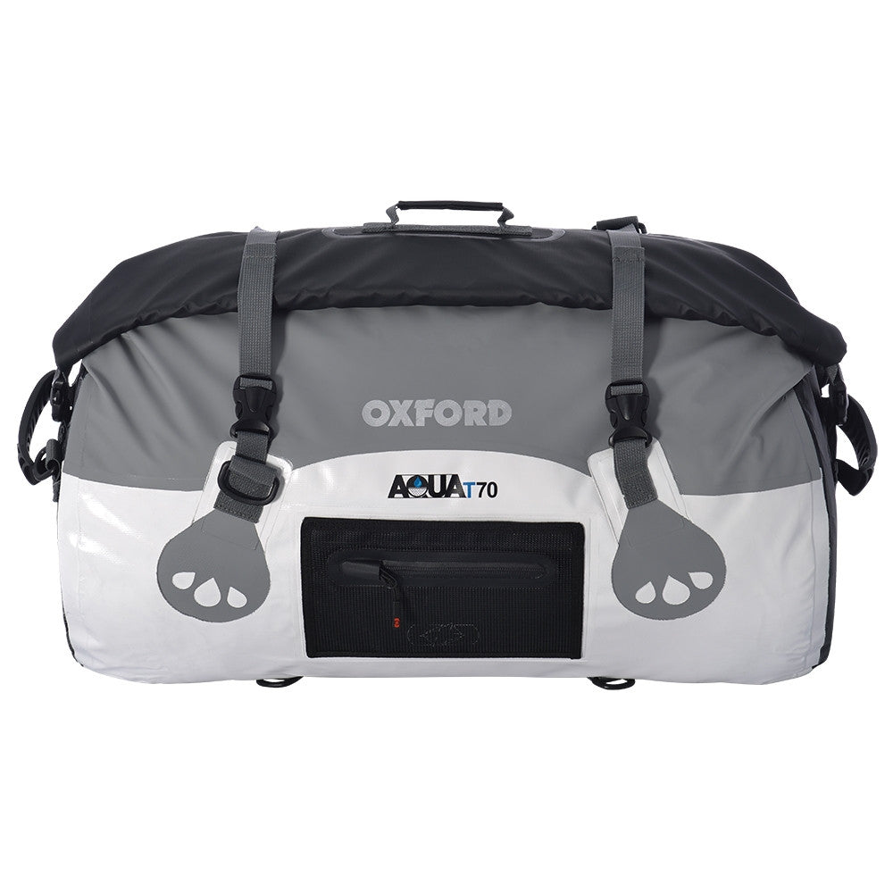 Oxford AQUA T70 Waterproof Motorcycle Roll Bag - 70 Litres - WHITE/GREY - Oxford -  - MSG BIKE GEAR