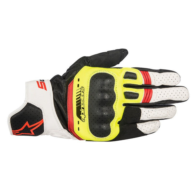 Alpinestars SP-5 Leather Gloves - Black / Yellow / White / Red