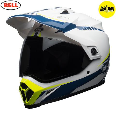 Bell 2018 MX-9 Adventure MIPS Helmet - Torch White / Blue / Yellow