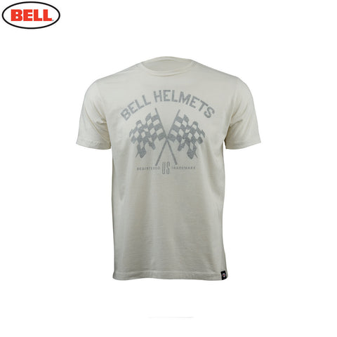 Bell Helmets Mens Premium T-Shirt Checkered Flags - White - Bell -  - MSG BIKE GEAR