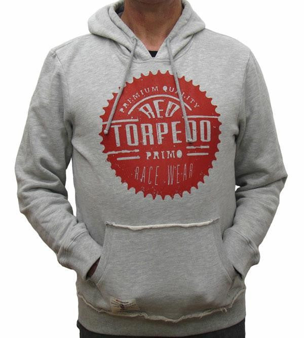 Genuine Red Torpedo Race Sprocket Grey Hooded Top Hoodie Hoody - Red Torpedo -  - MSG BIKE GEAR
