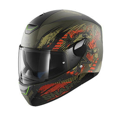 Shark Skwal Switch Rider 2 LED Helmet - Matt Green / Anthracite / Orange