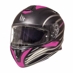 MT Targo Doppler Full Face Helmets - Matt Black/Pink