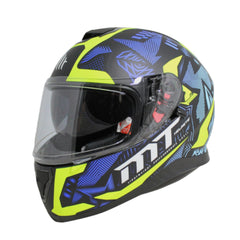 MT Thunder 3 SV Fractal Full Face Helmets - Matt Black/Blue/Fluo Yellow