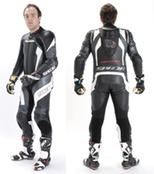 SPADA PREDATOR 1 P/C MOTORCYCLE MOTORBIKE RACING SUIT - BLACK/WHITE/SILVER - Spada -  - MSG BIKE GEAR