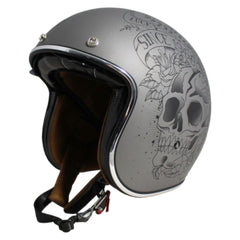 MT Le Mans 2 SV Skull & Roses Open Face Helmets - Matt Grey/Black