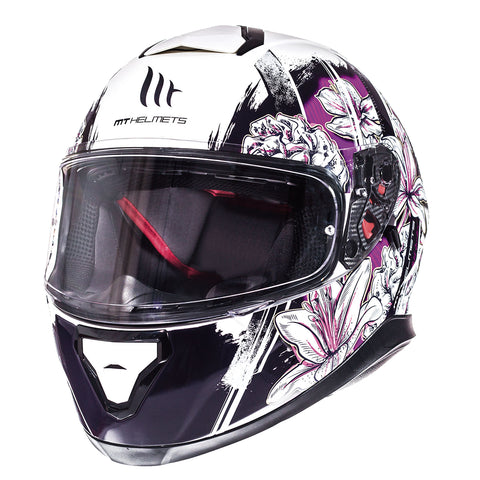 MT Thunder 3 SV 'Wild Garden' Helmet - White / Purple