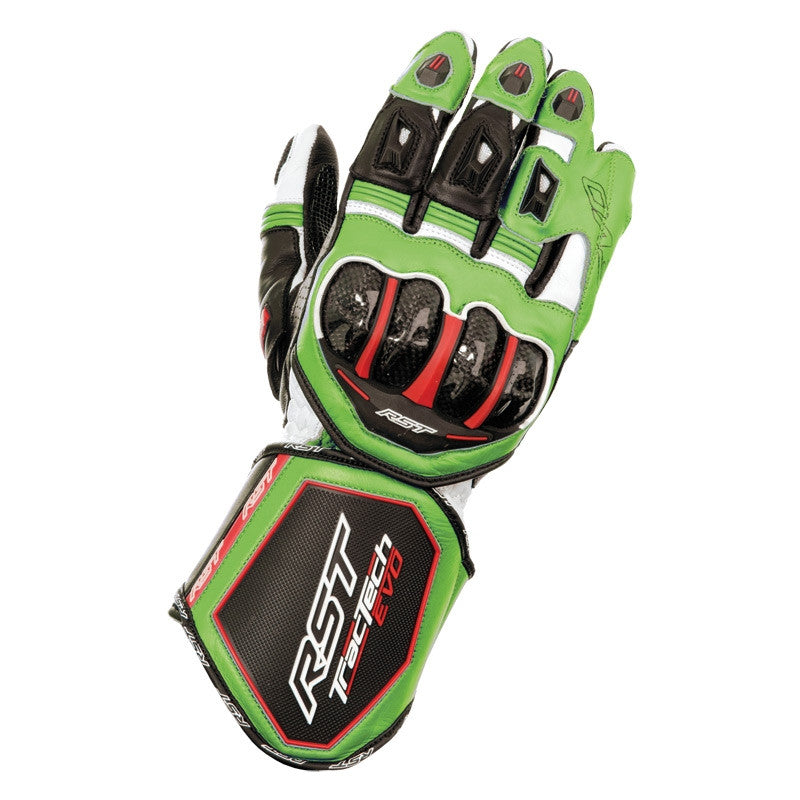 RST TRACTECH EVO CE 2579 LEATHER MOTORCYCLE RACE GLOVES GREEN - RST -  - MSG BIKE GEAR
