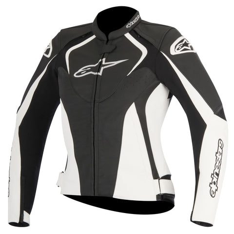 Alpinestars Stella Jaws Ladies Leather Motorcycle Jacket - Black/White - Alpinestars -  - MSG BIKE GEAR - 1