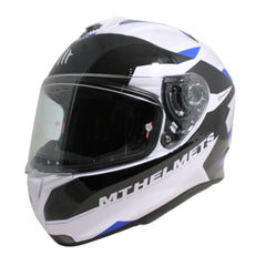 MT Targo Enjoy Full Face Helmets - Pearl White/Black/Blue