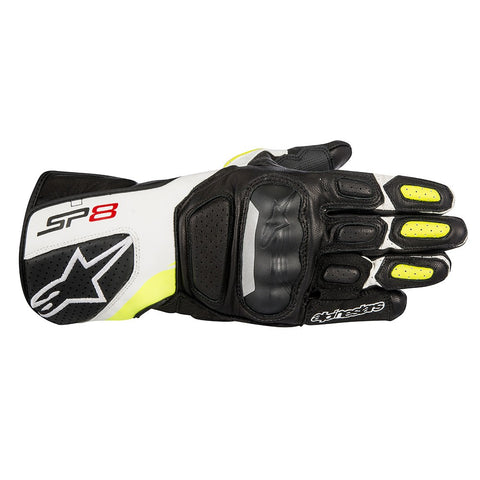 Alpinestars SP-8 V2 Leather Gloves - Black / White / Yellow