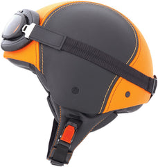 CABERG JET CENTURY BLACK/ORANGE LEATHER OPEN FACE MOTORCYCLE HELMET - Caberg -  - MSG BIKE GEAR