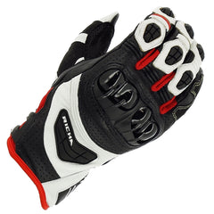 Richa Stealth CE Cerified Sports Motorcycle Leather Gloves - Black/White/Red - Richa -  - MSG BIKE GEAR - 1