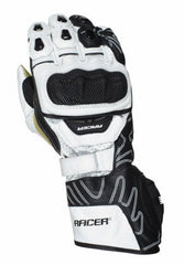 Racer High Speed Sports Racing Leather Motorbike Motorcycle Gloves - White - Racer -  - MSG BIKE GEAR - 1