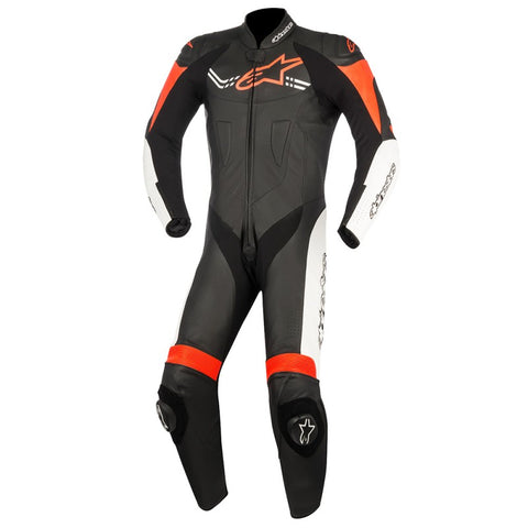 Alpinestars Challanger V2 1 Pc Leather Motorcycle Suit - Black/White/Red/Fluo