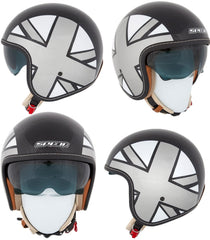 SPADA RAZE EMPIRE BLACK/SILVER/GREY OPEN FACE MOTORCYLE HELMET SUN VISOR - Spada -  - MSG BIKE GEAR - 1