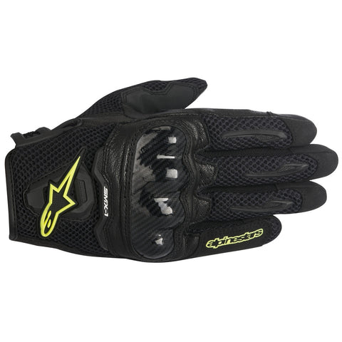 Alpinestars SMX-1 Air Carbon Mesh Motorbike Motorcycle Gloves - Black/Yellow - Alpinestars -  - MSG BIKE GEAR