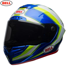 Bell Race Star Helmet - Sector White / Hi-Viz Green / Blue