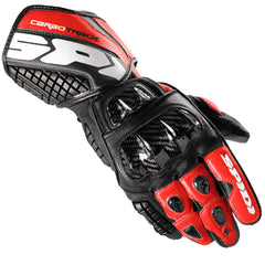 Spidi Carbo Track Leather Sports Gloves - Black / Red