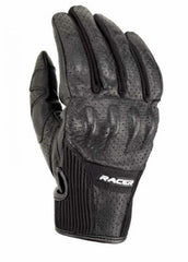 Racer Stone Men's Leather Touring Motorcycle Gloves - Black - Racer -  - MSG BIKE GEAR - 1