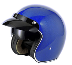 Vcan V537 Open Face Helmet - Blue Flake