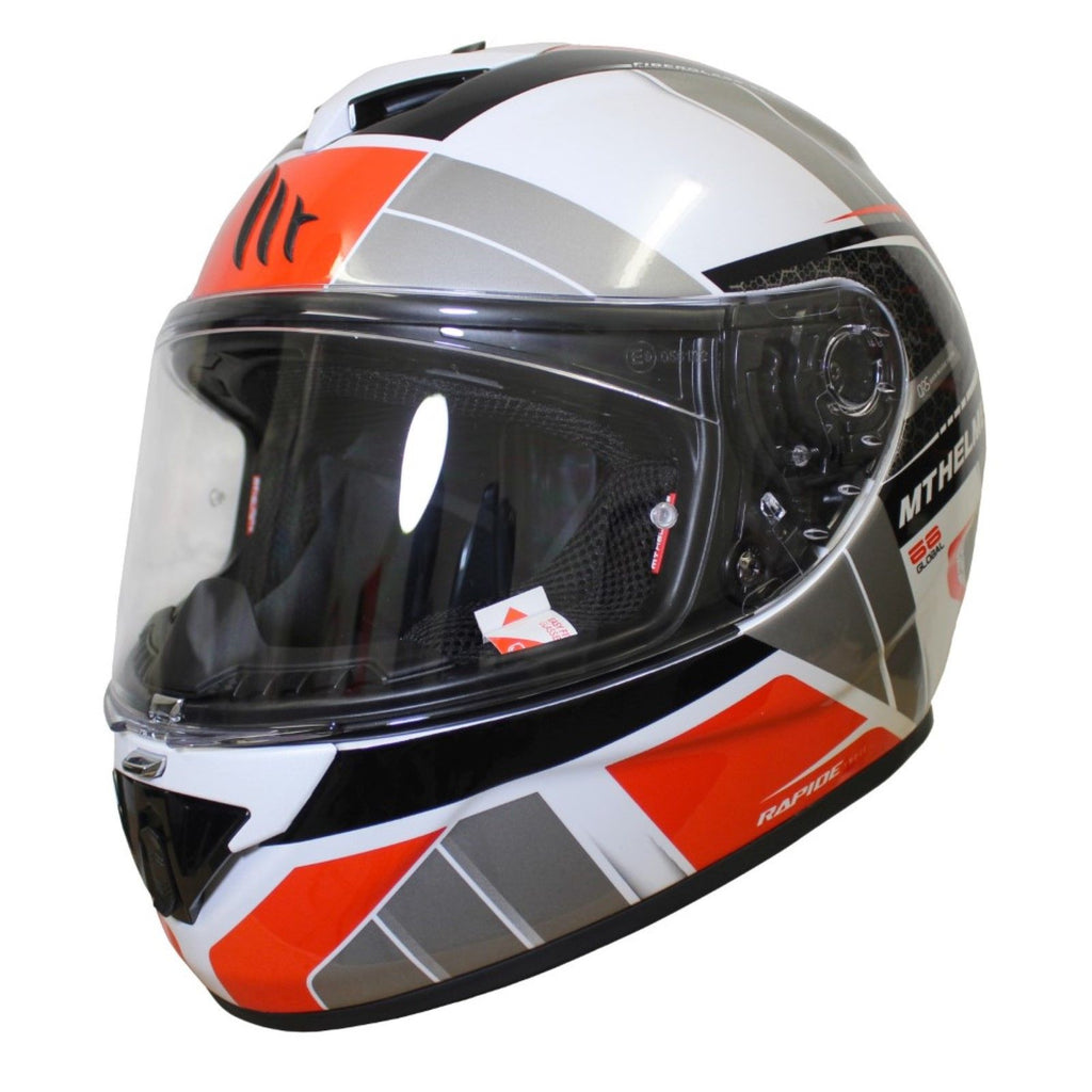MT Rapide Global Helmet - White / Grey / Red