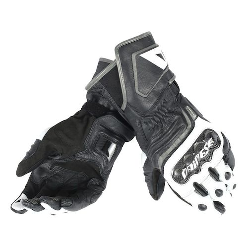 Dainese Carbon D1 Long Leather Motorcycle Racing Gloves - Black/White/Anth - Dainese -  - MSG BIKE GEAR - 1