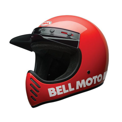 Bell 2017 Moto 3 III Full Face Retro Motorcycle Helmet - Classic Red - Bell -  - MSG BIKE GEAR - 1