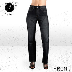 HORNEE SA-W2 LADIES MOTORCYCLE JEANS REGULAR FIT HIGH SHORT LEG BLACK - Hornee -  - MSG BIKE GEAR - 1