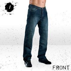 HORNEE SA-M3 RELAX FIT BRUISED MOTORCYCLE JEANS WASH BLUE - Hornee -  - MSG BIKE GEAR - 1