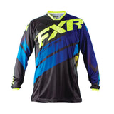 FXR Racing Mission 18 Mens MX Motocross Off Road Jersey - Black/Cyan/Hi-Viz