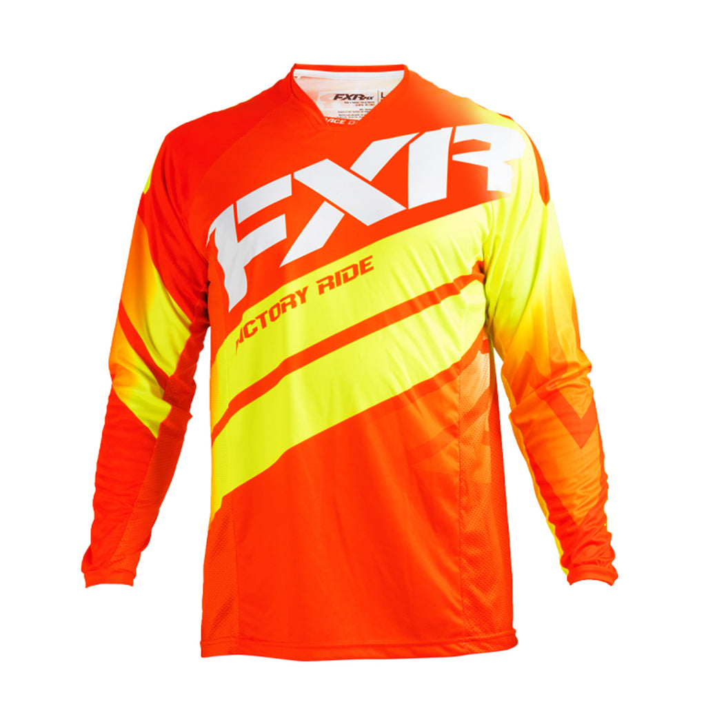 FXR Racing Mission 18 Mens MX Motocross Off Road Jersey - Red/Hi-Viz/White