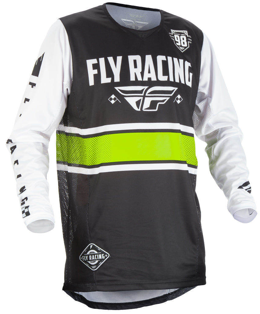 Fly Racing 2018 Kinetic Era Adult Motocross MTB Jersey - Black/White
