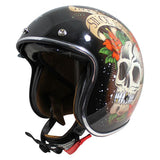 MT Le Mans 2 SV Skull & Roses Open Face Helmets - Black/Red