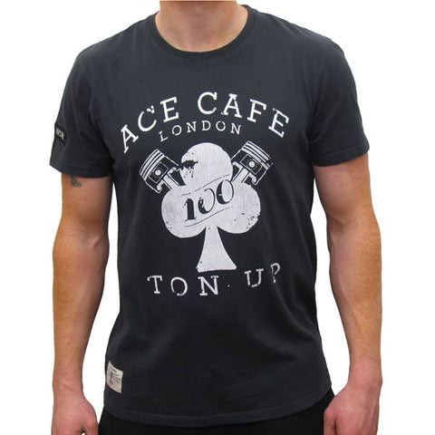 Guy Martin Red Torpedo Ace Cafe Ton Up Cotton Black T-Shirt TEE - Red Torpedo -  - MSG BIKE GEAR - 1