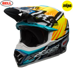 Bell MX 2018 Moto-9 MIPS MX Helmet - Tagger Yellow / Blue / White