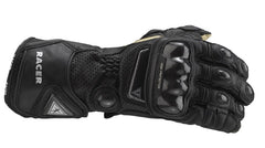 HIGH RACER CARBON KNUCKLE RACING LEATHER MOTORCYCLE GLOVES BLACK - RACER -  - MSG BIKE GEAR - 1
